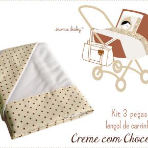 Jogo de lençol de carrinho Creme com Chocolate poás