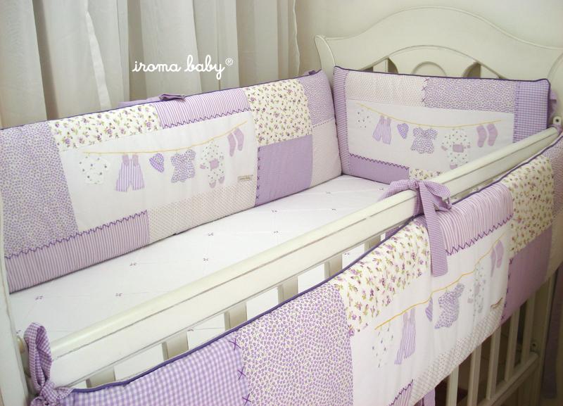 kit berço lilás varal de roupinhas