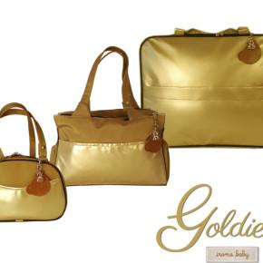 Kit mala, bolsa e frasqueira dourado - Coleção Goldies bebê