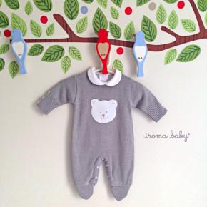 Roupa de bebê unissex cinza Urso Polar - kit macacão e body