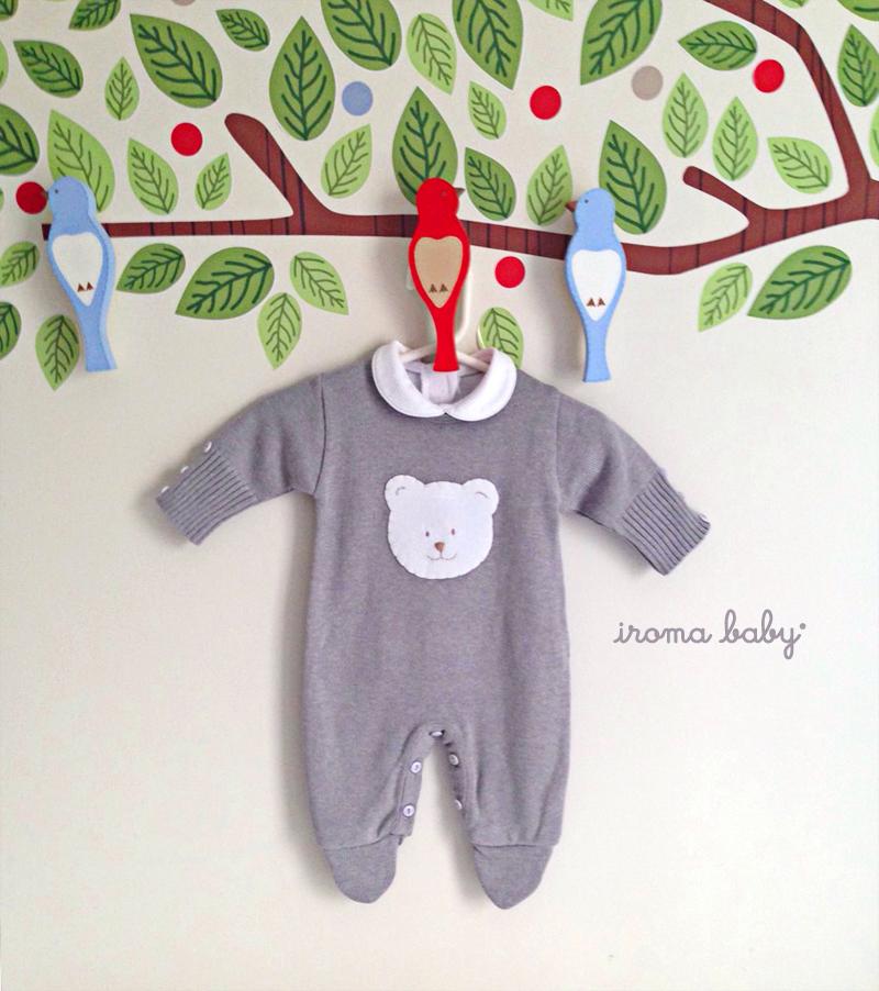 Roupa de bebê unissex cinza Urso Polar